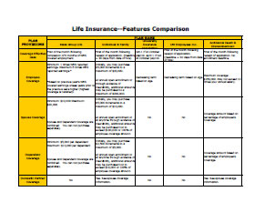 Life Insurance Features Comparison Chart